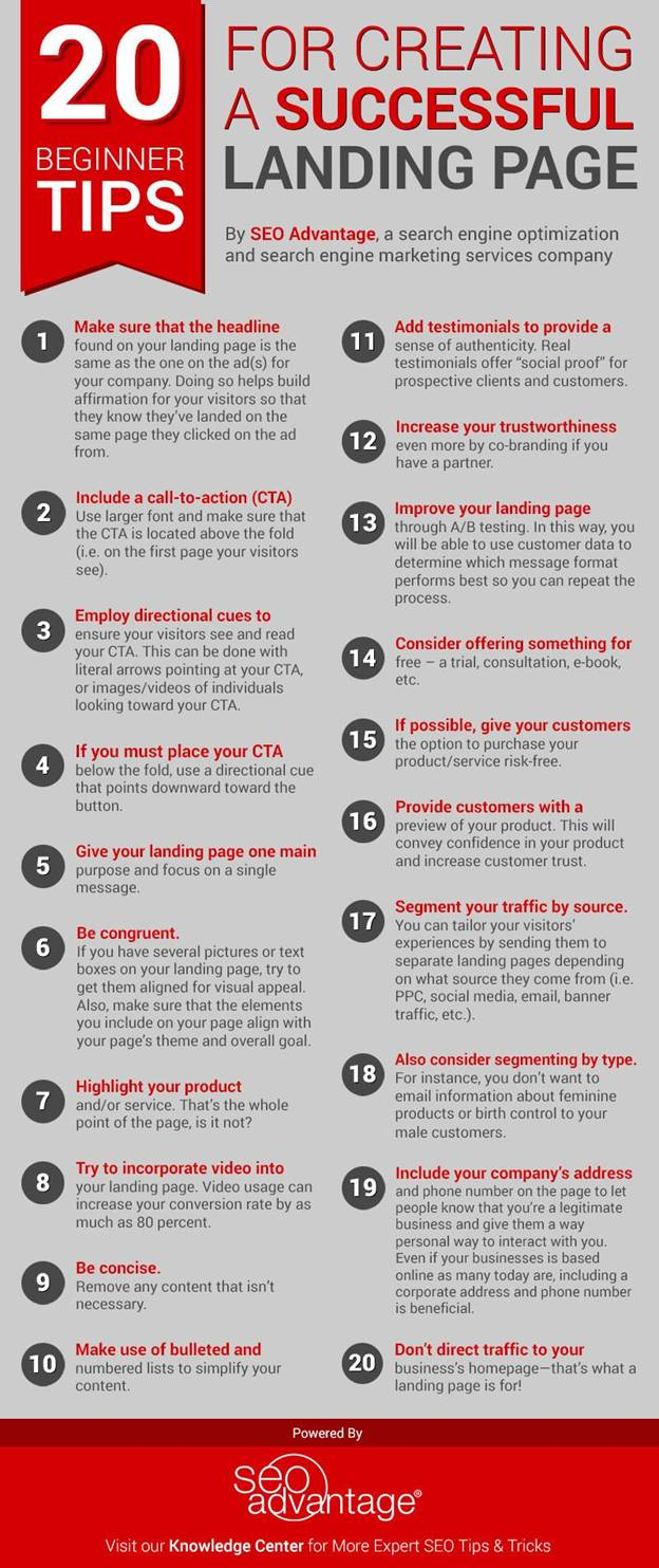 20 Beginner Tips for Creating a Successful Landing Page Infographic